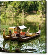 Boats In Lake Ankor Thom Acrylic Print