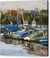 Boats In Montrose Harbor Acrylic Print