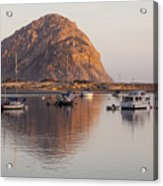 Boats In Morro Rock Reflection Acrylic Print