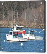 Boats In Rye Harbor Acrylic Print