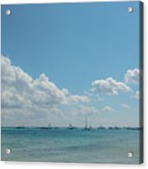 Boats In Shades Of Blue Acrylic Print