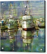 Boats In The Harbor Acrylic Print by Ron Hoggard