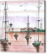 Boats In The Harbor Acrylic Print
