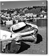 Boats In The Mykonos Old Port Mono Acrylic Print by John Rizzuto