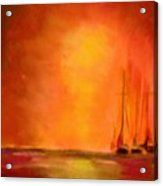 Boats In The Sunset Acrylic Print