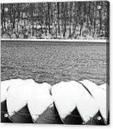 Boats - Lower Twin Lake Bw Acrylic Print