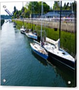 Boats Moving Into Chittenden Locks Seattle Acrylic Print