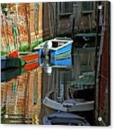 Boats On Canal In Venice Acrylic Print