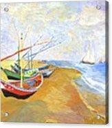 Boats On The Beach At Saintes-maries After Van Gogh Acrylic Print