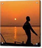 Boatsman On The Ganges Acrylic Print