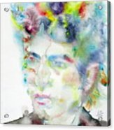 Bob Dylan - Watercolor Portrait.4 Acrylic Print