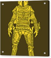 Boba Fett - Star Wars Art, Yellow Acrylic Print