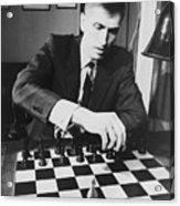 Bobby Fischer 1943-2008 Competing At An Acrylic Print by Everett