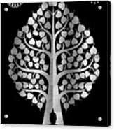 Bodhi Tree_iv_gold05_greyscale Acrylic Print