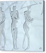 Body Sketches With Umbrella Acrylic Print