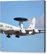 Boeing E-3b 71-1407 Sentry Phoenix Sky Harbor January 9 2015 Acrylic Print