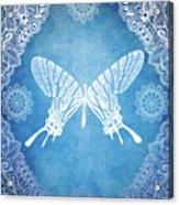 Bohemian Ornamental Butterfly Deep Blue Ombre Illustratration Acrylic Print