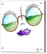 Boho Gypsy Daisy Field Sunglasses Reflection Design From The Aroon Melane 2014 Collection By Madart Acrylic Print
