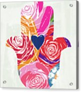 Bold Floral Hamsa- Art By Linda Woods Acrylic Print
