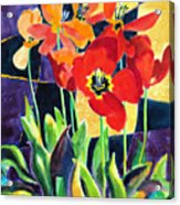 Bold Quilted Tulips Acrylic Print