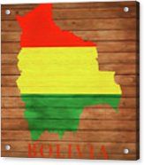 Bolivia Rustic Map On Wood Acrylic Print