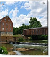 Bollinger Mill And Covered Bridge Acrylic Print