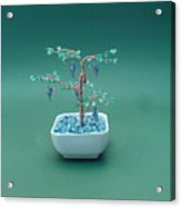Bonsai Wire Tree Sculpture Beaded Grape Gems      Acrylic Print