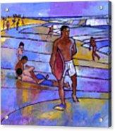 Boogieboarding At Sandy's Acrylic Print by Douglas Simonson