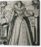 Book Frontispiece Celebrating Queen Elizabeth I's Happy And Prosperous Reign Acrylic Print