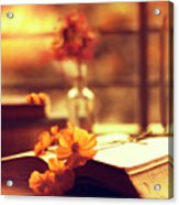 Books And Flowers Acrylic Print