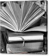 Books In Black And White Acrylic Print