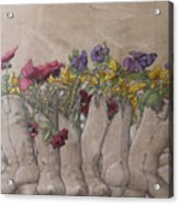 Boots And Flowers Acrylic Print