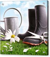Boots With Watering Can And Daisy In Grass  Acrylic Print