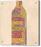 Bordeaux Wine Word Bottle Acrylic Print by Mitch Frey