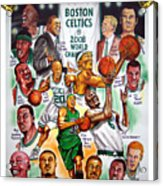 Boston Celtics World Championship Newspaper Poster Acrylic Print by Dave Olsen