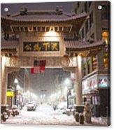 Boston Chinatown Gate During Snowsstorm Skylar Boston Ma Acrylic Print