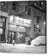 Boston Chinatown Snowstorm Tyler St Black And White Acrylic Print