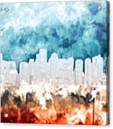 Boston City Skyline Watercolor 2 Acrylic Print