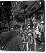 Boston Common Carousel Boston Ma Black And White Acrylic Print