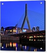 Boston Garden And Zakim Bridge Acrylic Print by Rick Berk