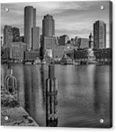 Boston Habor Sunrise Bw Acrylic Print
