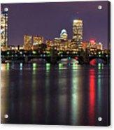 Boston Harbor Nights-panorama Acrylic Print by Joann Vitali