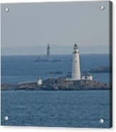 Boston Light And The Grave Light Panorama Acrylic Print