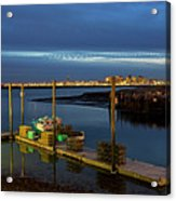 Boston Ma Belle Isle Boat Pier And Skyline Logan Airport Acrylic Print