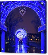 Boston Ma Christopher Columbus Park Trellis Lit Up For Valentine's Day Rainy Night Acrylic Print