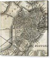 Boston Map Of 1842 Acrylic Print