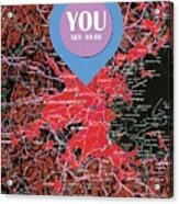 Boston Massachusetts 1948 Red Old Map You Are Here Acrylic Print