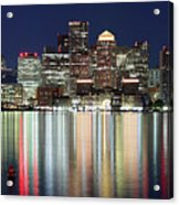 Boston Night Skyline Panorama Acrylic Print
