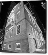 Boston Old State House Boston Ma Angle Black And White Acrylic Print