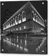 Boston Public Library Rainy Night Boston Ma Black And White Acrylic Print